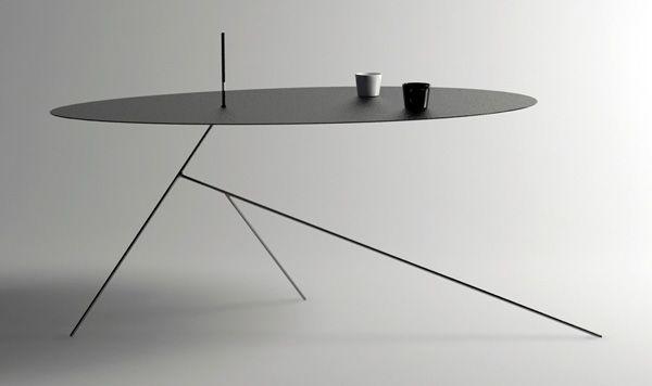 Table Chiuet - Design-Jay : Jeong Seung Jun a récemment dévoilé cette table à café nommée Chiuet, présentée comme un hommage au minimalisme asiatique : sobriété, discrétion, stabilité. La table Chiuet est si mince qu'elle pourrait presque passée inaperçue. De profil, le plateau est indistinguable du piétement et l'ensemble forme une arborescence minimaliste en acier massif. Le piétement comporte trois pattes bien étudiées pour assurer l'équilibre de la table qui présente un porte-à-faux.