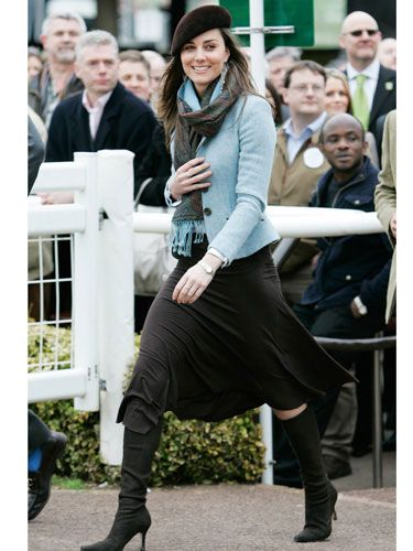 How to pair a brown skirt with brown boots and a light blue jacket for a fall look as done by Mrs. Kate Middleton in March, 2007.