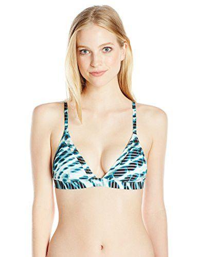 RVCA Women's Swayed Triangle Bikini Top, Ocean Depth, X-Large
