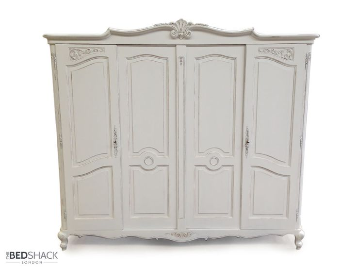 White Shabby Chic 1950 s Vintage French Oak 4 Door Wardrobe / Armoire