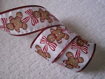 Christmas-Ribbon-Gingerbread-Cookie-2-1-2-In-Wide-Wired-Edge-4-YARDS