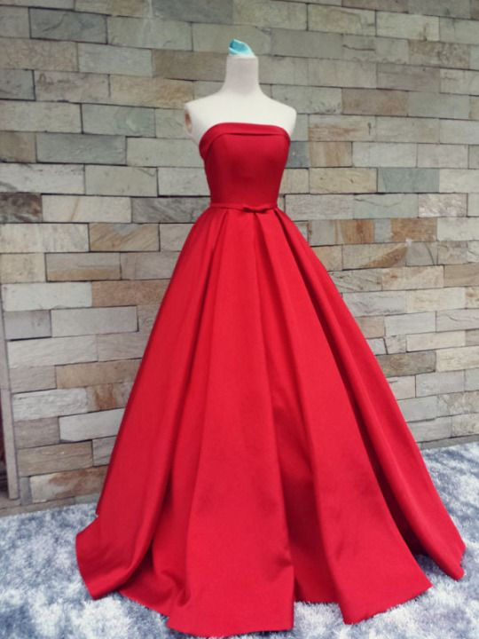 Red Prom Dresses,Simple Prom Dress,Sexy Prom Dress,Cheap Prom Dresses,2016 Formal Gown,Satin Evening Gowns,Ball Gown Party Dress,Strapless Prom Gown For Teens