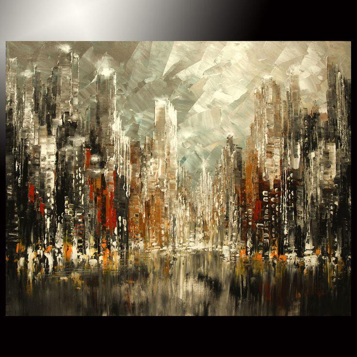 ORIGINAL skyline PAINTING city TATIANA art dark rust steam palette knife impasto