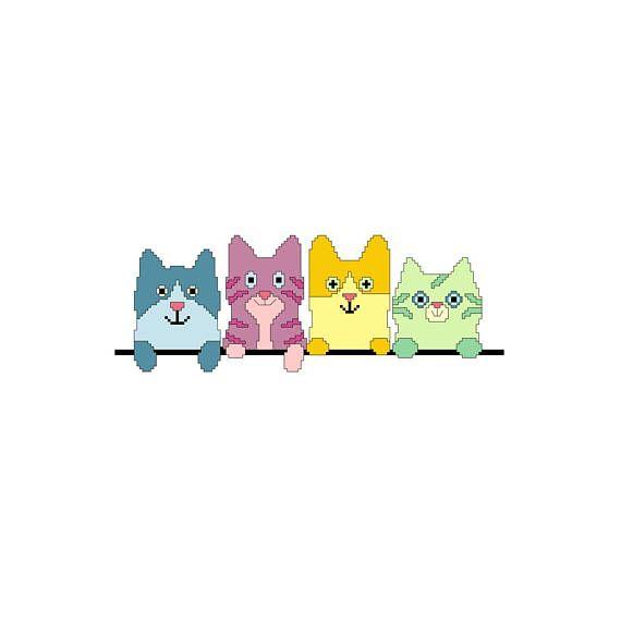 PDF schema punto croce gattini  cross stitch pattern