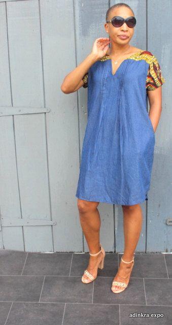 Denim et africaine robe imprimée par AdinkraExpo sur Etsy