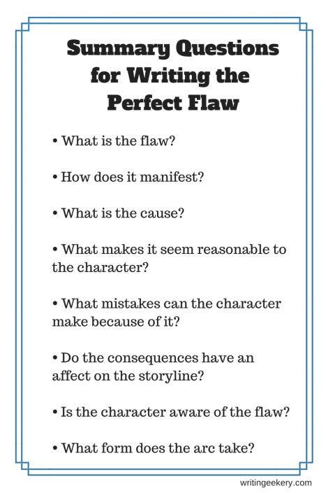 Questions to help you use the flaw to full advantage in your story. Click through to get the full rundown. So much to think about.