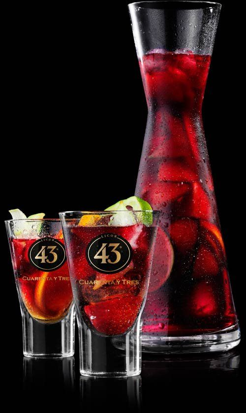 Sangria 43  1 1/2 Parts Licor 43 1 Part Red Wine 1 Part Lemon Juice 1 Part Orange Juice 1 Dash of Bitters  Shake well with ice. Garnish with oranges, apple slices and grapes.