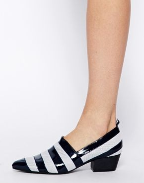 Image 4 ofWood Wood Eleanore Navy Stripe Loafers