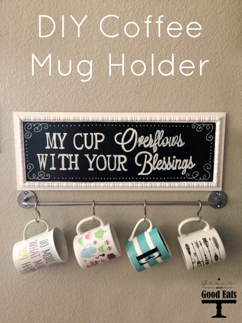 This DIY Coffee Mug Holder cost less than $20 and is the perfect way to store and display some of those cute mugs hiding in your cluttered cabinet!