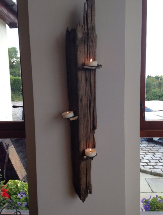 Driftwood wall candle holder by Towydesign on Etsy, £49.50