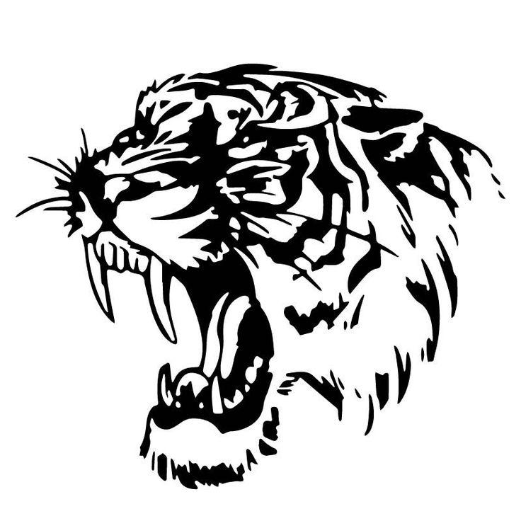 Car Styling Réfléchissant et Créative Personnalité Cool Animal Tigre Corps Autocollants De Voiture Noir Argent CT2043
