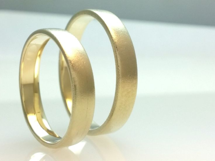 Recycled 14k Gold Wedding Band Ring Set.Hard Matte Polish Gold,4mm Wedding Ring Set,His and Her,Eco Friendly,Handmade Wedding Ring Set by Vaptism on Etsy