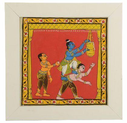 Khadi Cheriyal Painting - Lord Krishna with his friend