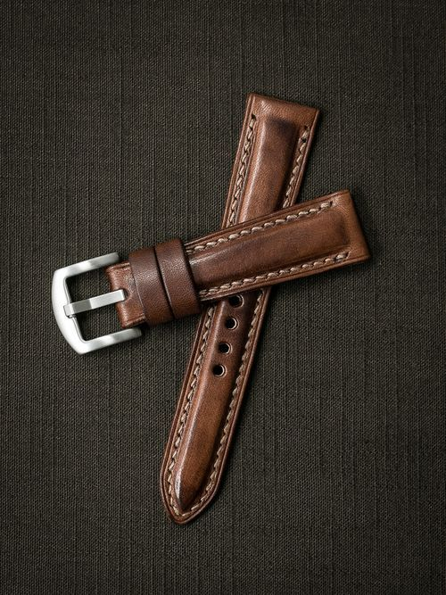 """""""Skyfall"""" Russet Vintage Tan Padded Leather Watch Strap"""