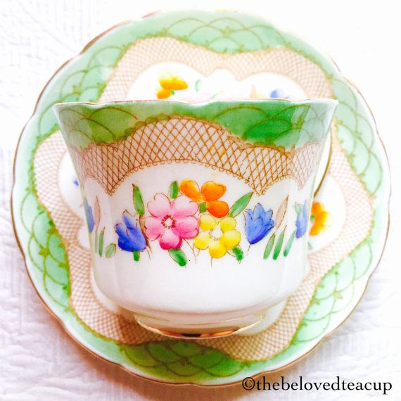 EB Foley Green Floral 1930's Tea Cup and by TheBelovedTeacup