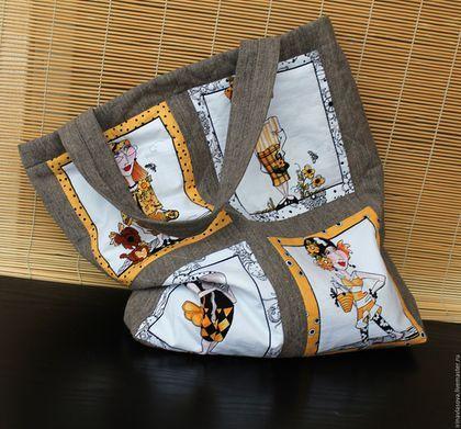 Купить или заказать Сумка 'Дамочки' в интернет-магазине на Ярмарке Мастеров. Представляю эту сумку для примера,по вашему желанию возможны различные варианты декора и аксессуаров. Текстильная вместительная сумка с оригинальным принтом .Верх сшит из плотного льна,простеган синтепоном. Внутри вместительный карман.