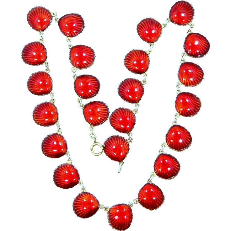 For sale is this signed with the Nils Elvik  Co. Norway hallmark, Sterling Silver Vermeil  Red Enamel Shell Pattern Necklace. It measures almost 16