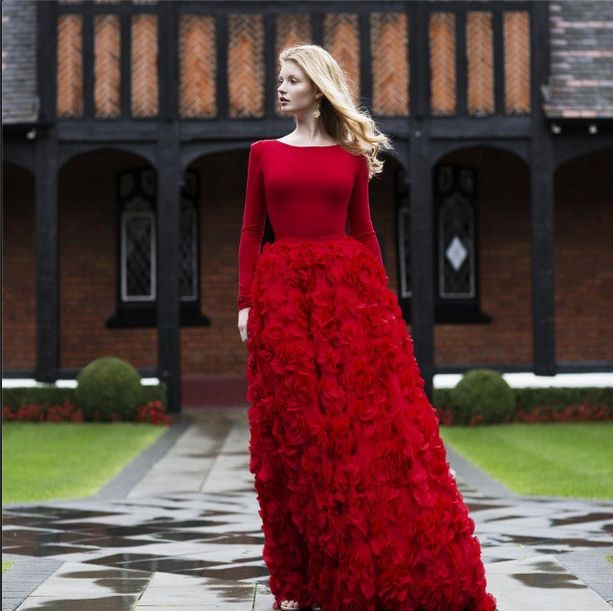 Evening  and wedding gowns with sleeves modest formal dresses | Follow Mode-sty for stylish modest clothing #nolayering