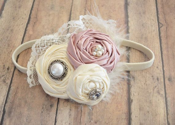 flower girl headband / dusty pink headband / by KrumpetsWeddings, $24.50