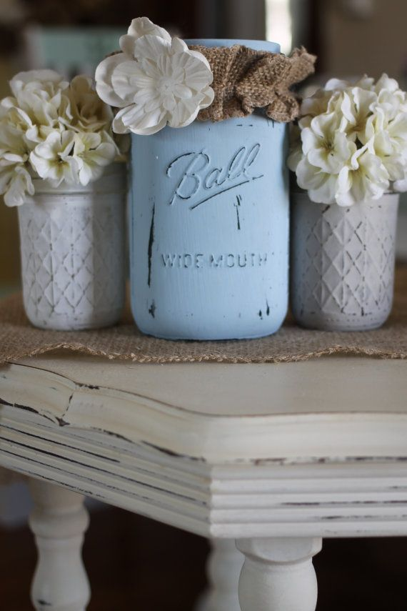 Mason Vases Jars Set of 3 Distressed by ALittleCommonScents