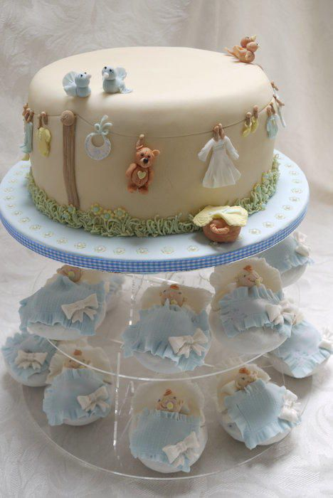 Baby Shower Cake with baby wash day washing line and matching baby basket cupcakes