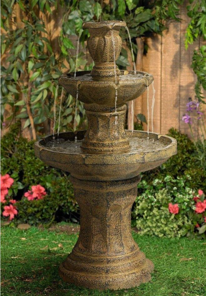 Outdoor Tiered Fountain Stone 3 Tier Cascade Large High 42 Inch Indoor Electric Outdoortieredfountain Tuscan Garden Fountains Backyard Tiered Garden