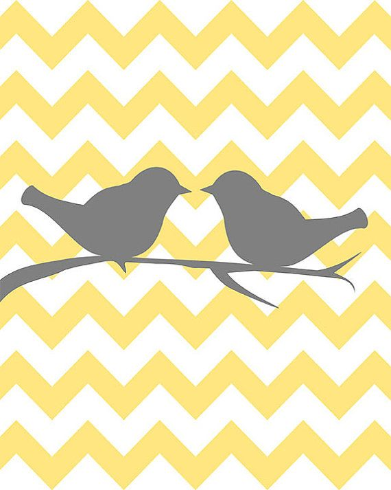 SALE+50++OFF++Two+love+birds+on+chevron+++by+curryonthecouch,+€6.00