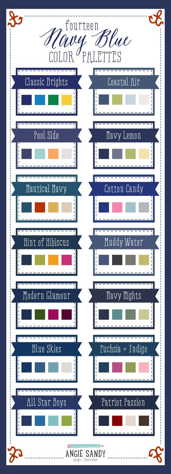 14 Navy Blue Color Palettes   Angie Sandy Design + Illustration #colorpalettes #colorcrush #navy