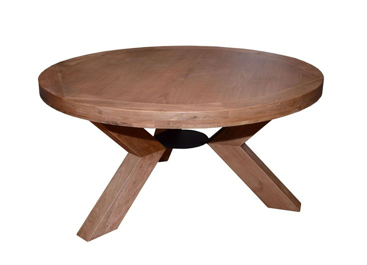 triomphe weathered oak 6 person round dining table with