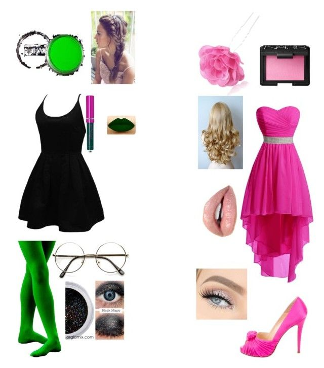 """""""Glinda and Elphaba Halloween Costumes"""" by mikiiyafoster on Polyvore featuring WithChic, NARS Cosmetics, Christian Louboutin, Chicnova Fashion, ZeroUV and Komodo"""