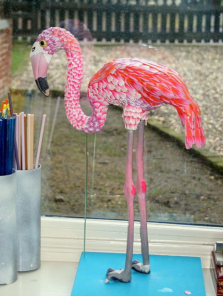 pelikaan gemaakt van fimo, cernit en sculpey