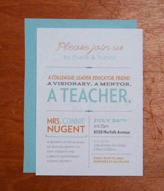 15 best Teacher Retirement Party Invitation Wording images on ...