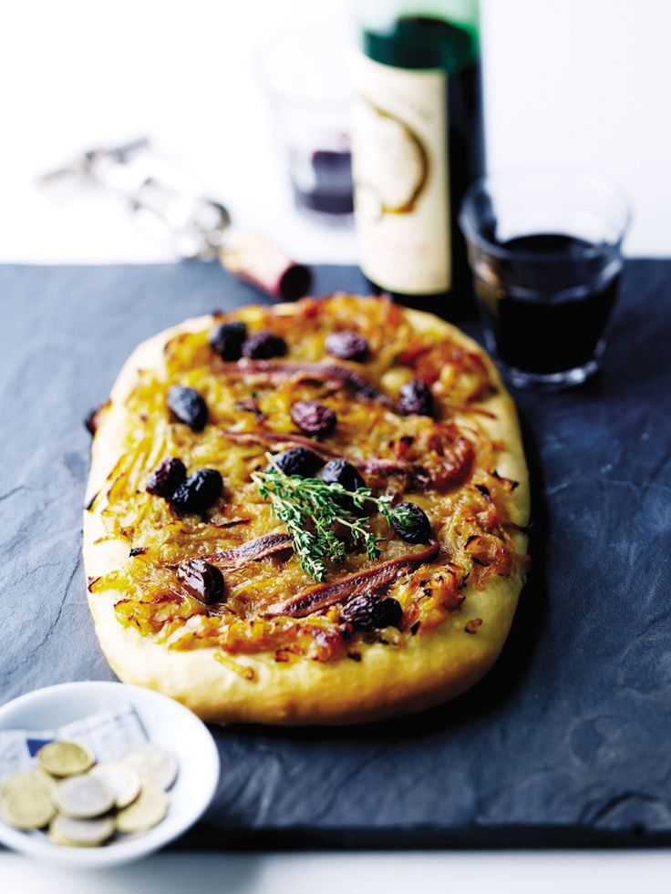 A delicious French take on pizza, topped with caramelised onions, anchovies and olives.