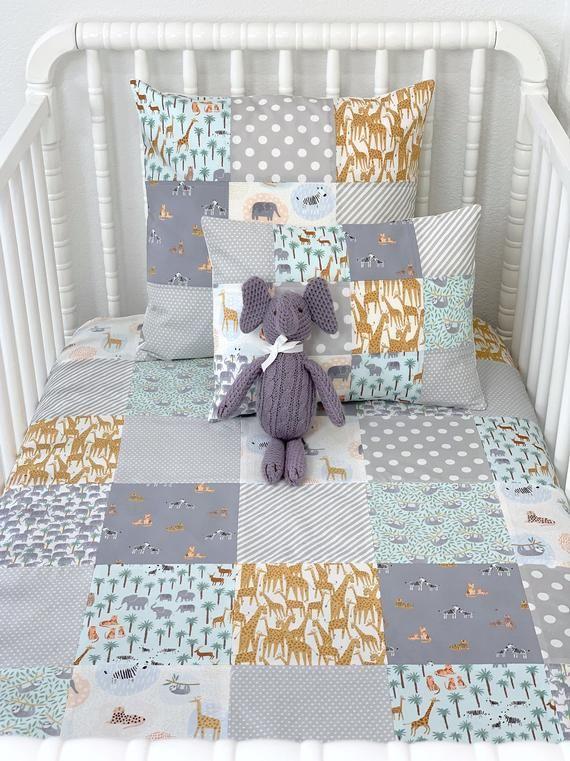 Crib Bedding Nursery Decor Minky Baby Blanket Gray And Mint Elephants And Giraffes Safari Jungle Anim Crib Bedding Crib Bedding Girl Jungle Nursery Decor