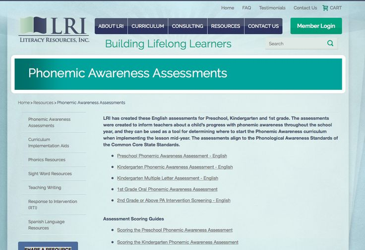 ASSESSMENT - This resource, Literacy Resouces, INC provides a list of websites that have multiple phonemic awareness assessments for students from preschool to grade 1. Educators can use these assessment tools to determine the level of their students and track their progression.