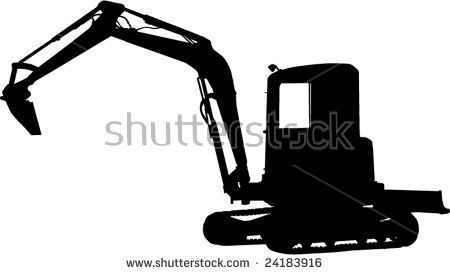 Mechanical excavator isolated on white  #mechanicaldigger #silhouette #illustration