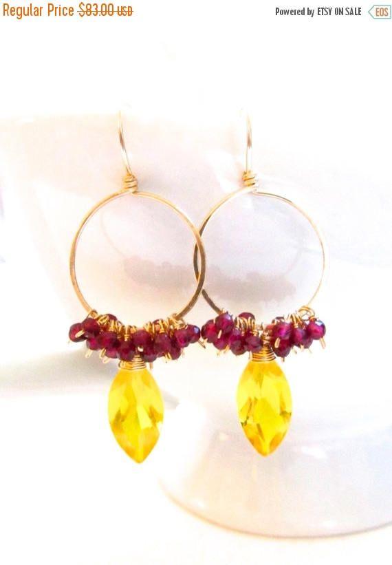 Yellow Quartz Hoop Earrings Wire Wrapped Garnets 14k Gold Fill, Handmade Gemstone Jewelry by Sonja Blume