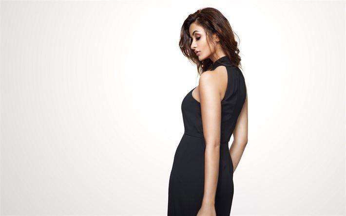 Aditi Arya, Indian model, black evening dress, beautiful woman, brunette