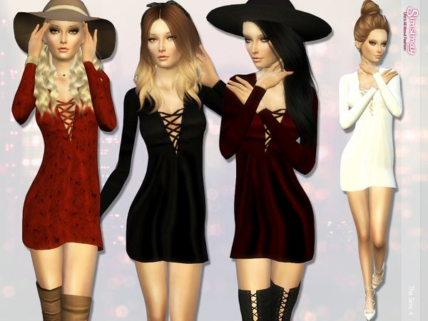 Simsimay's [UPDATED] Laced Up Hand-Painted A-line Dress