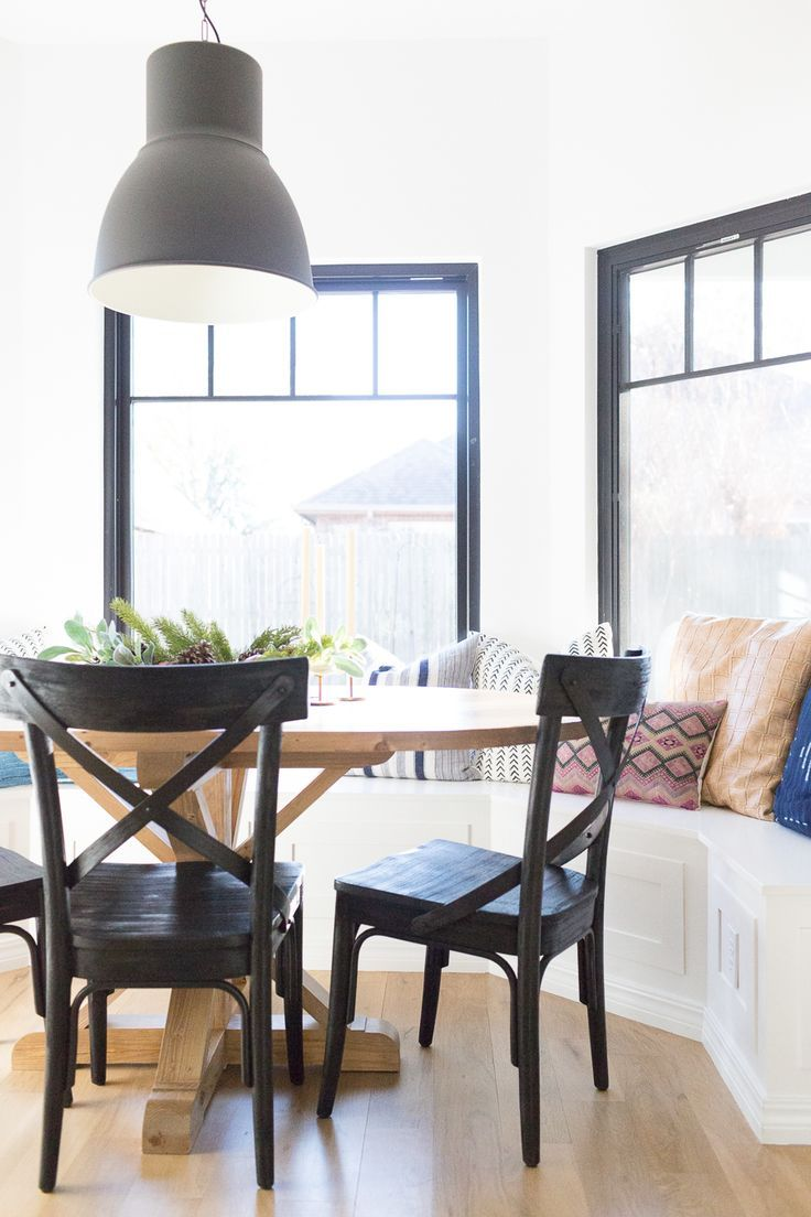black farmhouse chairs travel high chair seat how to design a beautiful kitchen banquette inspire dining rooms modern room oval wood pedestal table ikea hektar pendant windowsm
