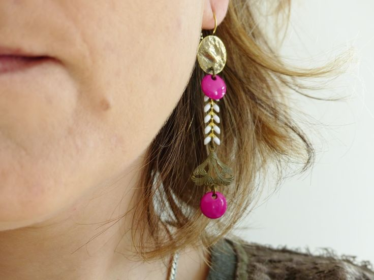 Boucle d'oreille chaine or blanc