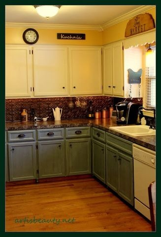 Almost Exactly What Were Doing To The Kitchen Yellow Walls White Upper Colored CabinetsWhite
