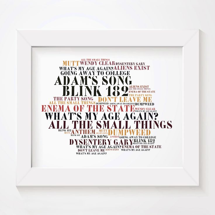 Blink 182 Enema Of The State limited edition typography lyrics art print, signed and numbered wall art poster available from www.lissomeartstudio.com