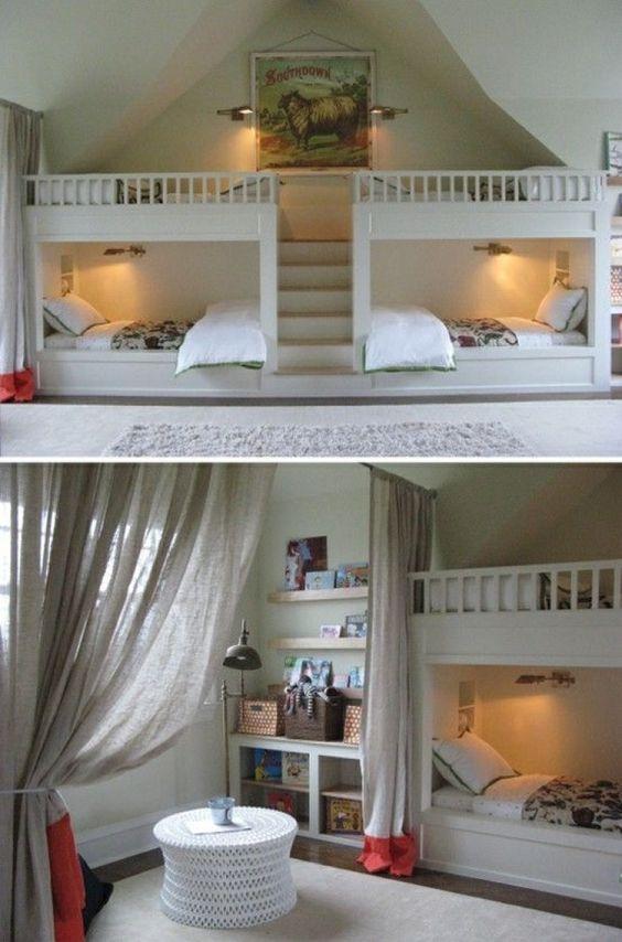 17 meilleures id es propos de chambres partag es sur pinterest chambres c - Lit enfant gain de place ...