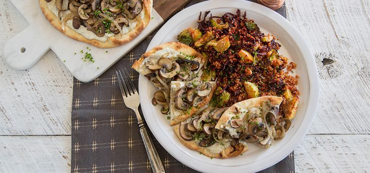 I'm cooking Fig-Mushroom Flatbreads with Green Chef https://greenchef.com/recipes/caramelized-onion-and-mushroom-flatbread-with-blue-cheese-and-chives