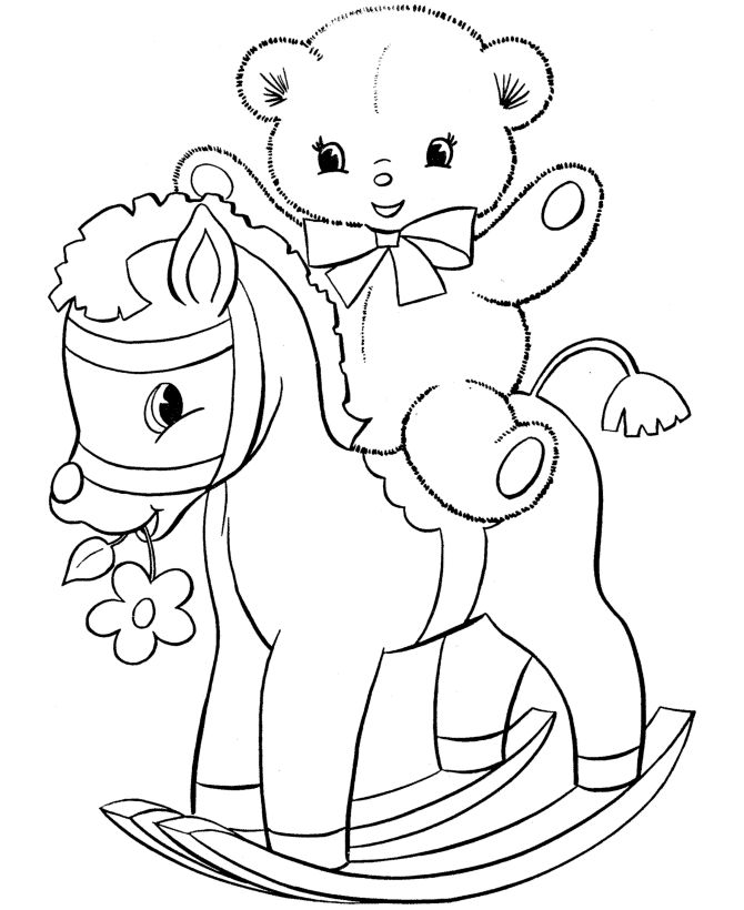Teddy Bear Coloring Pages Kids On A Rocking Horse Featuring Hundreds Of Pre K