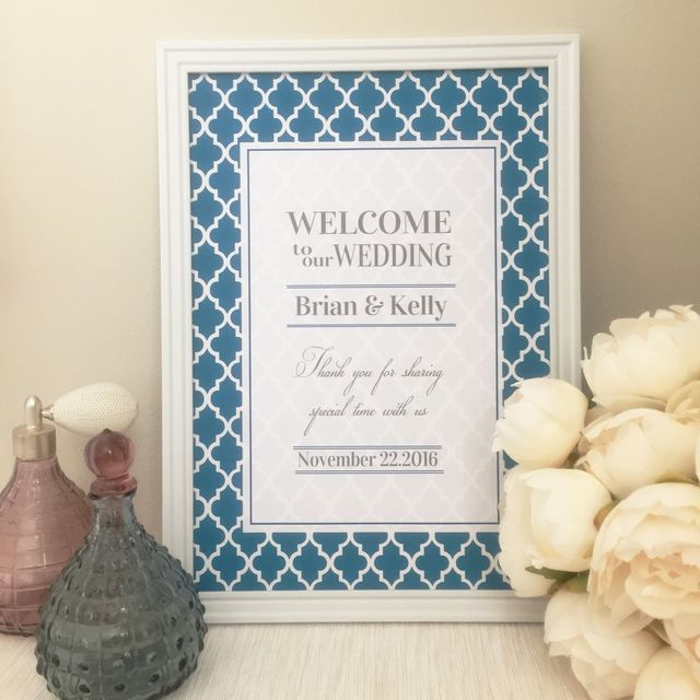 お名前と日付入りのオリジナルウェルカムボードです♡ライトネイビーのモロッカン柄で可愛いなかにもスタイリッシュな雰囲気に仕上げております♡上品な柄なのでご結婚式にもぴったりです(ˊ•◡•ˋ)♪A4サイズの厚紙に印刷してお届けいたします!フレームはつきません...