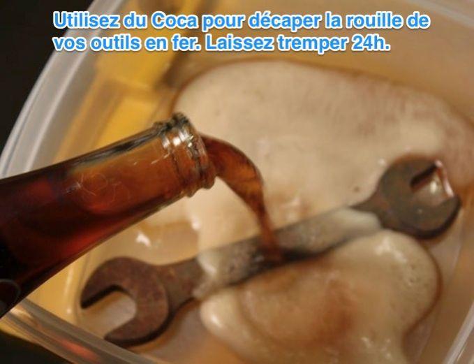 Verser du coca sur votre outil rouillé