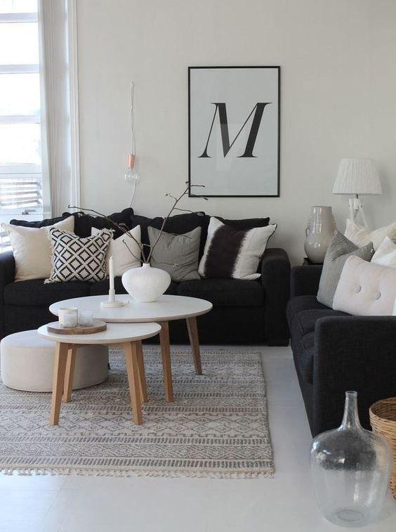 Discover The Best Interior Design Trends Here Https Parisdesignagenda C Black Sofa Living Room Decor Black Couch Living Room Couches Living Room Apartment
