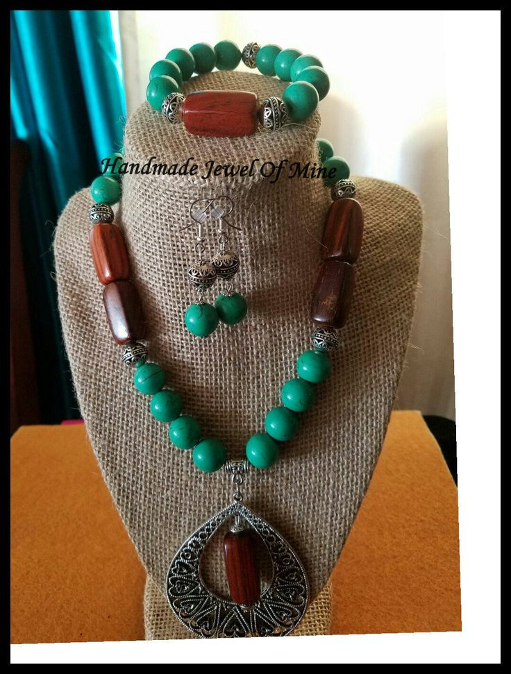 Green & Brown Necklace Set! Magnesite and Wooden Beads. Set Of 3! Beautifully Handmade For Her! by Jewelofmine on Etsy